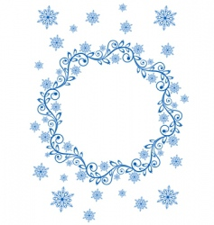 Snow frame and snowflakes vector