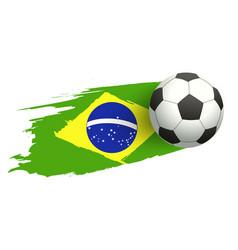 Soccer ball in background of brazilian flag vector