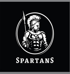 spartan warrior in armor symbol logo on a dark vector image