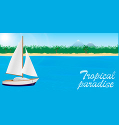 Summer travel to tropical paradise banner or vector