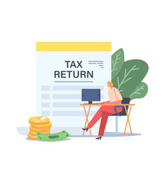 Tax return concept tiny businesswoman character vector