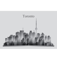 Toronto city skyline silhouette in grayscale vector