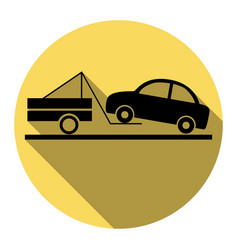 Tow truck sign flat black icon with flat vector
