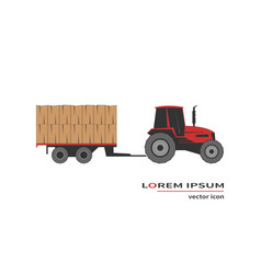 Tractor with hay wagon vector