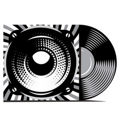 vinyl record with cover mockup typography vector image