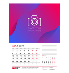 Wall calendar planner template for may 2019 week vector