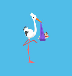 white stork delivering bundle with newborn baby vector image