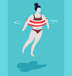 Woman with swimsuit and striped inflatable ring in vector