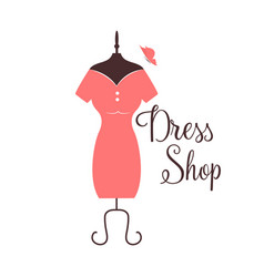 Women fashion logo design template dress emblem vector