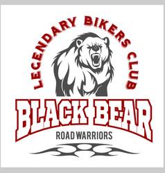 bear bikers club tee print design t-shirt vector image