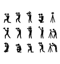 black photographer icons set vector image
