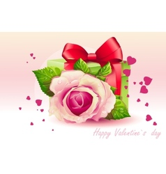 Card for Valentines Day pink rose with green box vector image