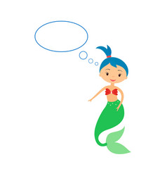 cute little mermaid with speech bubble on white vector image