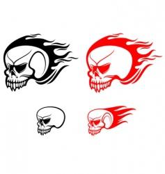 danger skulls with flames vector image