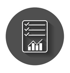 Document with chart symbol flat with long shadow vector