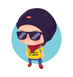 Hipster boy cartoon character vector