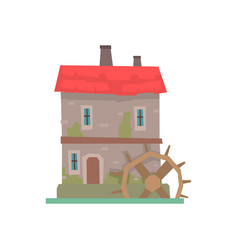 old stone house and wooden water wheel ancient vector image vector image