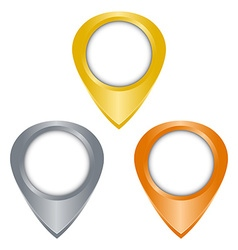 gold silver bronze glossy blank tag on the map vector image vector image