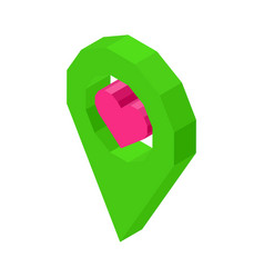 liked geolocation icon with pink heart inside vector image
