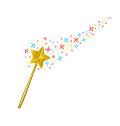 magic wand with coloured stars vector image vector image