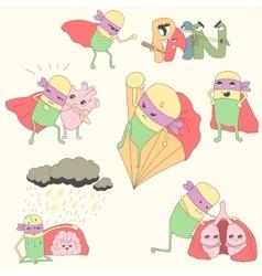 set of pills-superheroes protect internal organs vector image vector image