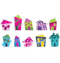 Set of the bright painted cartoon houses vector image