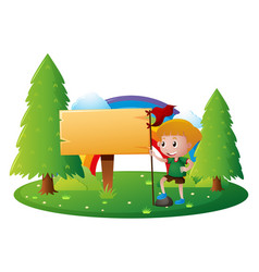 Sign template with boy in park vector