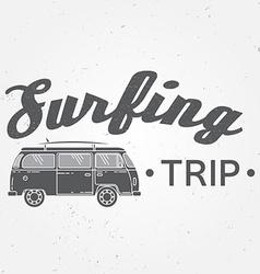Surf trip concept Summer surfing retro badge Beach vector image vector image