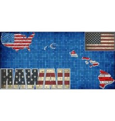 USA state of Hawaii on a brick wall vector image