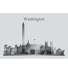 Washington city skyline silhouette in grayscale vector image vector image