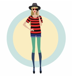 blonde with a mobile phone vector image vector image