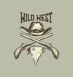 cowboy hat and scarfgun vector image
