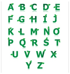 Green alphabet with leaf set a to z vector image