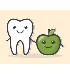 Healthy tooth and apple vector image vector image