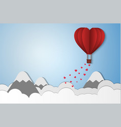 paper style love of valentine day balloon flying vector image vector image