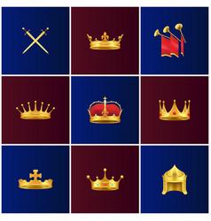 royal gold medieval attributes set vector image vector image