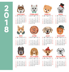 2018 calendar dog year breed cartoon pet icons vector image vector image