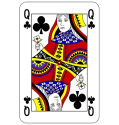 Poker playing card Queen club vector image vector image