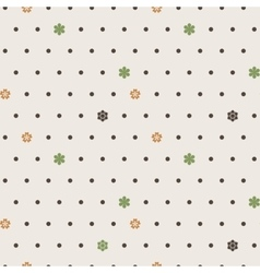Seamless pattern of dots and flowers vector image