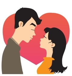 Young couple on the background with red heart vector image vector image