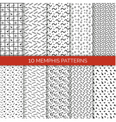 10 memphis patterns set on vector image