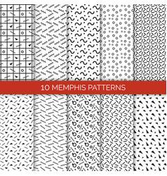 10 memphis patterns set vector image