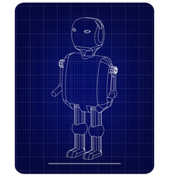 3d model of the robot on a blue vector image