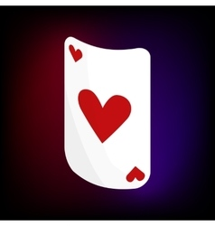 Ace of hearts card icon cartoon style vector