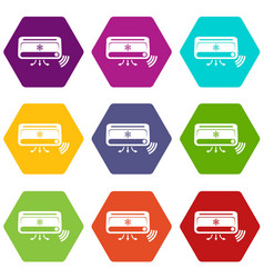 air conditioning icons set 9 vector image
