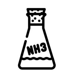Ammonia chemical flask line icon vector