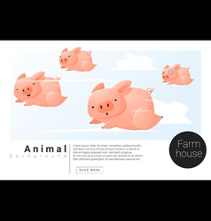 Animal banner with Pigs for web design 2 vector image