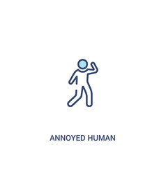 Annoyed human concept 2 colored icon simple line vector