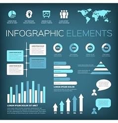 aquamarine colour infographic elements vector image