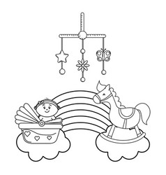 baby carriage newborn in black and white vector image